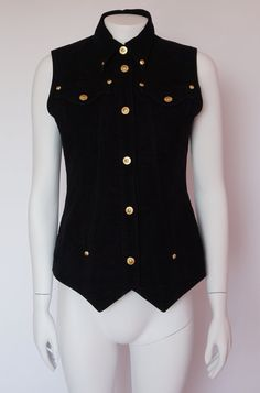 Hello Im glad youre here VINTAGE PANDORA  I offer vintage VERSACE JEANS COUTURE vest AUTHENTIC ! 100% cotton velvet Made in Italy gold studs and
