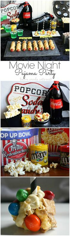 Pajama Party Movie Night - Put on your favorite PJs and grab some snacks, this Pajama party Movie night party with Hotel Transylvania 2 is the perfect way to entertain the kids when the weather gets cold and they can't go out and play. Sticky, salty and sweet S'Mores Popcorn balls are made with M&M's and movie theater microwave popcorn for the perfect movie night treat. #MakeItAMovieNight #ad @mmschocolate @sonypictures @cocacola