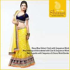 Lighten up the wedding with this Bright Yellow and Elegant Navy Blue Lehenga by Shirasi!  Would you like to sport it to the next occasion?  Available at our Store!
