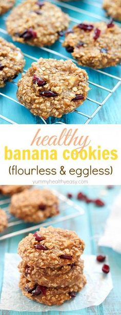) These cookies are soft, moist and … Healthy Banana Cookies (flourless & eggless!) These cookies are soft, moist and super healthy! A great post-workout snack or healthy dessert option. Healthy Cookies, Healthy Baking, Healthy Desserts, Delicious Desserts, Yummy Food, Healthy Dessert Options, Dessert Recipes, Chocolate Cafe, Chocolate Chips