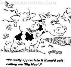 Two cows are standing in a farm. One cow is telling the other cow that it will appreciate it if the other cow quits calling it Big Mac!