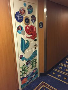 Our Little Mermaid-themed Disney Cruise door decoration. Lots of construction…