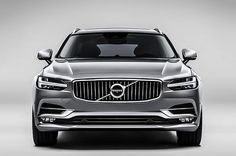 "2016 Volvo V90 ... front view. Doesn't it look wide, or is it an optical illusion? Love the ""hammer"" daytime running lights"