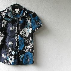 Black Floral Blouse Floral Print Top shirt size S by DamovFashion, zł69.00