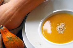 Sweet pumpkin veloute soup with grated walnuts flavored with verbena. Paparouna Wine Restaurant & Cocktail Bar   Ready our table.