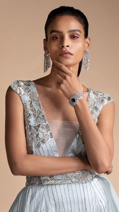 Powder Blue Gown In Embellished Net With Detachable Trail Online - Kalki Fashion Powder Blue Gown, Net Gowns, Grey Gown, Silver Falls, Bugle Beads, Saree Dress, Color Stories, Baby Blue, Skyfall