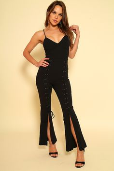 27a46fe3df6 Sexy Black Sleeveless Lace Up Open Back Jumpsuit