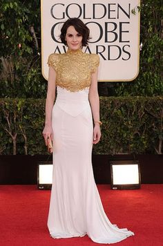 Michelle Dockery in a Gold Accented Dress at the Golden Globes Red Carpet 2013