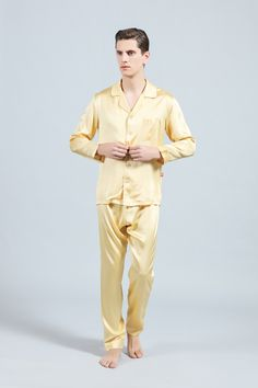Mens Satin Silk Pajamas Nightwear Long Sleeve V Neck Soft Sleep Shirts Tee Tops