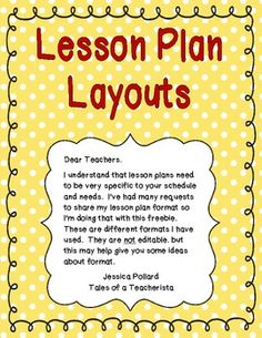 This pack includes 7 different lesson plan formats. I created this document to help you generate ideas on how to format your own lesson plans....