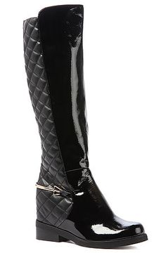 The Westbend Boot in Black Crinkle Patent by Jeffrey Campbell