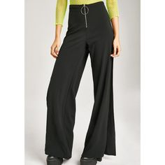 O Ring Split High Waisted Pants ($24) ❤ liked on Polyvore featuring pants, pinklicious, high-waisted trousers, high-waist trousers, zip pants and high waisted pants