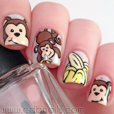 cdbnails: Nail Art Challenges - Monkeys and Bananas - Looking for Hair Extensions to refresh your hair look instantly? KINGHAIR® only focus on premium quality remy clip in hair. Visit - - for more details Creative Nail Designs, Creative Nails, Nail Art Designs, Animal Nail Designs, Animal Nail Art, Garra, Cute Nails, Pretty Nails, Monkey Nails