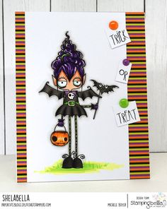 www.stampingbella.com: rubber stamps used:ODDBALL VAMPIRE GIRL. Card by Michele BOYER Halloween Drawings, Halloween Cards, Halloween Diy, Fall Cards, Christmas Cards, Love Stamps, Clear Stamps, Paint Cards, Cricut Cards