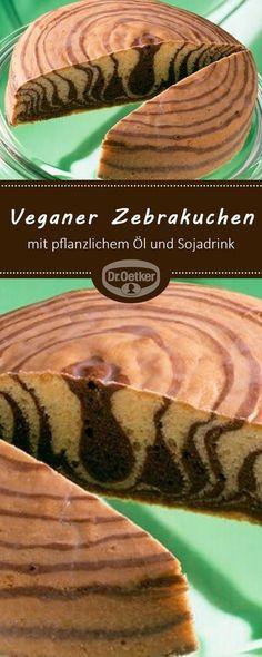 Veganer Zebrakuchen Vegan zebra cake: vegan zebra cake with vegetable oil and soy drink Rezepte Desserts Végétaliens, Healthy Dessert Recipes, Cake Recipes, Torta Zebra, Zebra Cakes, Cake Zebré, Nyc Cake, Vegan Vegetarian, Vegetarian Recipes