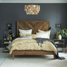 West Elm bed and bedside tables