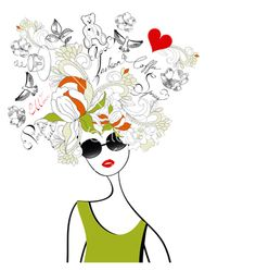 Fashion girl with original hair vector 192977 - by Ateli on VectorStock®