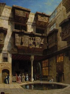 A courtyard in Cairo By Adrien Dauzats (French, 1804 - Oil on panel… Old Egypt, Cairo Egypt, Islamic Architecture, Art And Architecture, Carl Spitzweg, Kairo, Middle Eastern Art, Arabian Art, Islamic Paintings