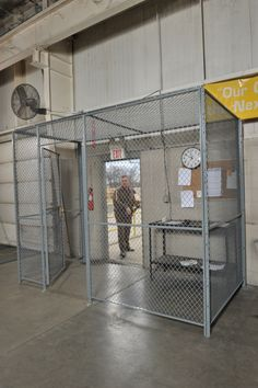 Driver's entrance/access cages provide a secure and safe way to restrict access to truck driver's, deliverymen, and all other outside personnel. Cages come with options for panic-bar doors (for emergency egress) as well as service windows.