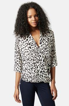 Women's Topshop Leopard Print Surplice Top