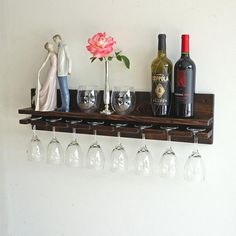 Add Pizzazz to your home bar with this Rustic Wall Wine Rack Shelf & Hanging Stemware Glass Holder Wall Wine Glass Rack, Wine Rack Shelf, Wine Shelves, Wine Glass Holder, Glass Shelves, Custom Home Bars, Rustic Wine Racks, Rustic Walls, Rustic Wood