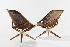 JOSEPH ANDRÉ MOTTE Pair of Tripod Chairs, 1949 Rattan 283/10 × 291/2 × 262/5 in 72 × 75 × 67cm