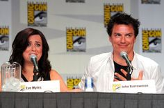 "Eve Myles and John Barrowman speak at Starz ""Torchwood"" Panel during Comic-Con 2011 on July 22, 2011 in San Diego, California."