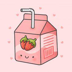 Cute Food Drawings, Cute Animal Drawings Kawaii, Cute Little Drawings, Kawaii Wallpaper, Wallpaper Iphone Cute, Cute Wallpapers, Strawberry Drawing, Cute Strawberry, Doodles Kawaii