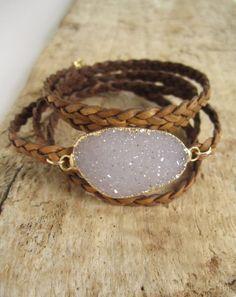 Leather Druzy Bracelet Drusy Quartz Braided Natural Antique Brown Wrap