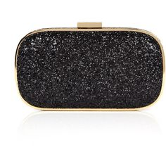 Anya Hindmarch Black Glitter Marano Clutch Bag ($550) ❤ liked on Polyvore featuring bags, handbags, clutches, purses, bolsas, borse, round leather purse, leather clutches, leather hand bags and leather man bag