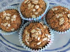 No Flour, Sugar Free, Oil Free Healthy Oatmeal Muffins Recipe; Toasted oats produce a slightly nutty favor while fruit and honey provide a bit of sweetness.