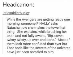 Hahaahaaha because Thor had long hair; Nat
