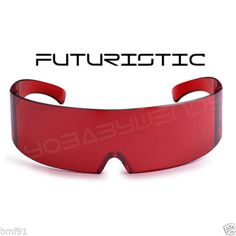 d8063b46716f Futuristic alien ultra red xmen cyclops star trek party rave mirror  sunglasses