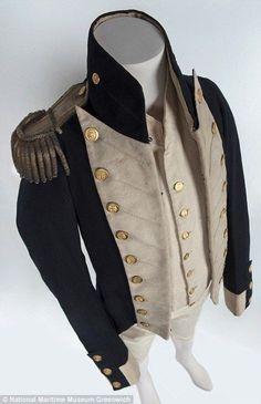 On display after 200 years: Rare Royal Navy uniform worn by survivor of Battle of Trafalgar (found in a plastic bag in the attic) Royal Navy Uniform, Victorian Mens Fashion, Medieval Fashion, Victorian Era, Livingstone, 70s Fashion, Winter Fashion, Vintage Fashion, Navy Uniforms