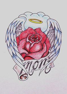 Mom tattoo design by on deviantart purple heart tattoos, rose heart tattoo, heart Purple Heart Tattoos, Rose Heart Tattoo, Rose Flower Tattoos, Heart With Wings Tattoo, Heart Wings, Rip Tattoos For Mom, Mother Tattoos, Dad Tattoos, Tattoo Mom