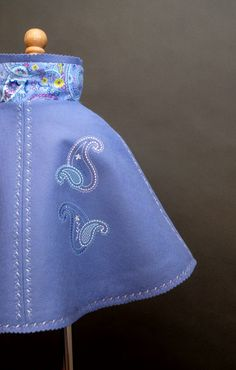 Periwinkle and paisley wool felt cape