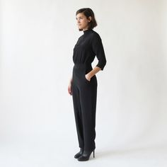This minimalist jumpsuit from Hackwith Design House is perfection. I want one in each color! I'd dress the heathered gray sweatshirt one down (and wear it nearly every day, tbh) and dress the sleek silky black one up for special occasions. Yes please and thank you. #wishlist
