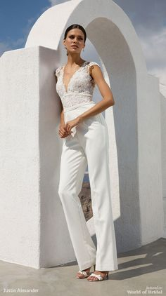 Justin Alexander Fall 2018 Crepe Jumpsuit with Illusion V-Neck Lace Bodice