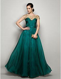 Vestido de noche largo de palabra de gasa verde @ Vestidos de Fiesta Baratos