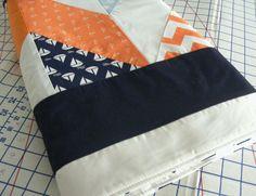 Boy's Nautical  Bedding or Toddler Quilt Handsewn Chevron Orange Navy Grey on Etsy, $107.00