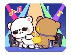 LINE Creators' Stickers - Milk & Mocha : Playful (Animated) Example with GIF Animation Cute Cartoon Images, Cute Couple Cartoon, Cute Love Cartoons, Cartoon Gifs, Cute Cartoon Wallpapers, Cute Bear Drawings, Kawaii Drawings, Bear Gif, Cute Love Gif