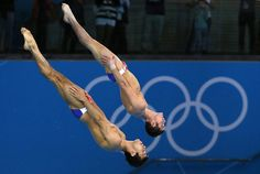 Nicholas McCrory and David Boudia of the USA win bronze in Men's Synchronized 10m Platform diving event.