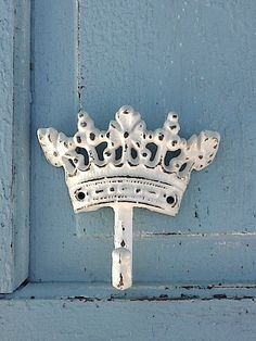 Shabby Chic Crown / White Rustic Crown Hook Cast Iron/  by CamillaCotton on Etsy