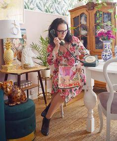 Sukienka w róże uszyta z gazety Szycie 03/2018 model 10