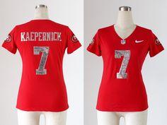 Women's San Francisco 49ers #7 Colin Kaepernick Handwork Sequin Lettering Fashion Jersey