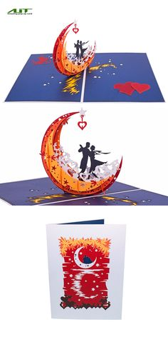 AITpop Moon boat (red) hand-crafted greeting card 3D Pop Up Card #love