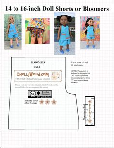 Sewing Shorts Pattern Free 43 New Ideas Sewing Doll Clothes, Baby Doll Clothes, Sewing Dolls, Doll Clothes Patterns, Barbie Clothes, Clothing Patterns, Diy Clothes, Ag Dolls, Doll Patterns