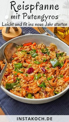 Vegetable rice pan with turkey gyros - low calories - great for losing weight - . - Vegetable rice pan with turkey gyros – low calories – great for losing weight – My simple re - Rice Recipes, Easy Healthy Recipes, Vegetable Recipes, Healthy Snacks, Snack Recipes, Easy Meals, Vegetable Rice, Snacks Diy, Dinner Healthy