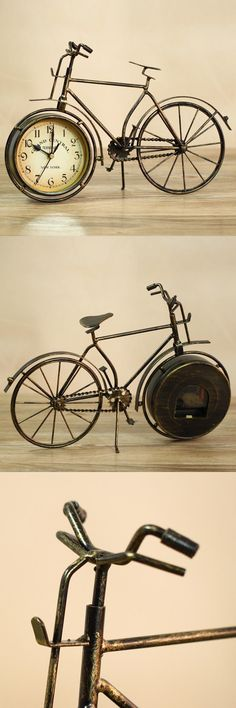 YoHere crafts pastoral vintage wrought iron clock desktop decoration bike styling pendulum clock $25.84