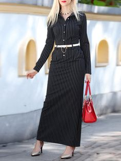 Half Sleeve Pockets Polyester Stripes Work Maxi Dress